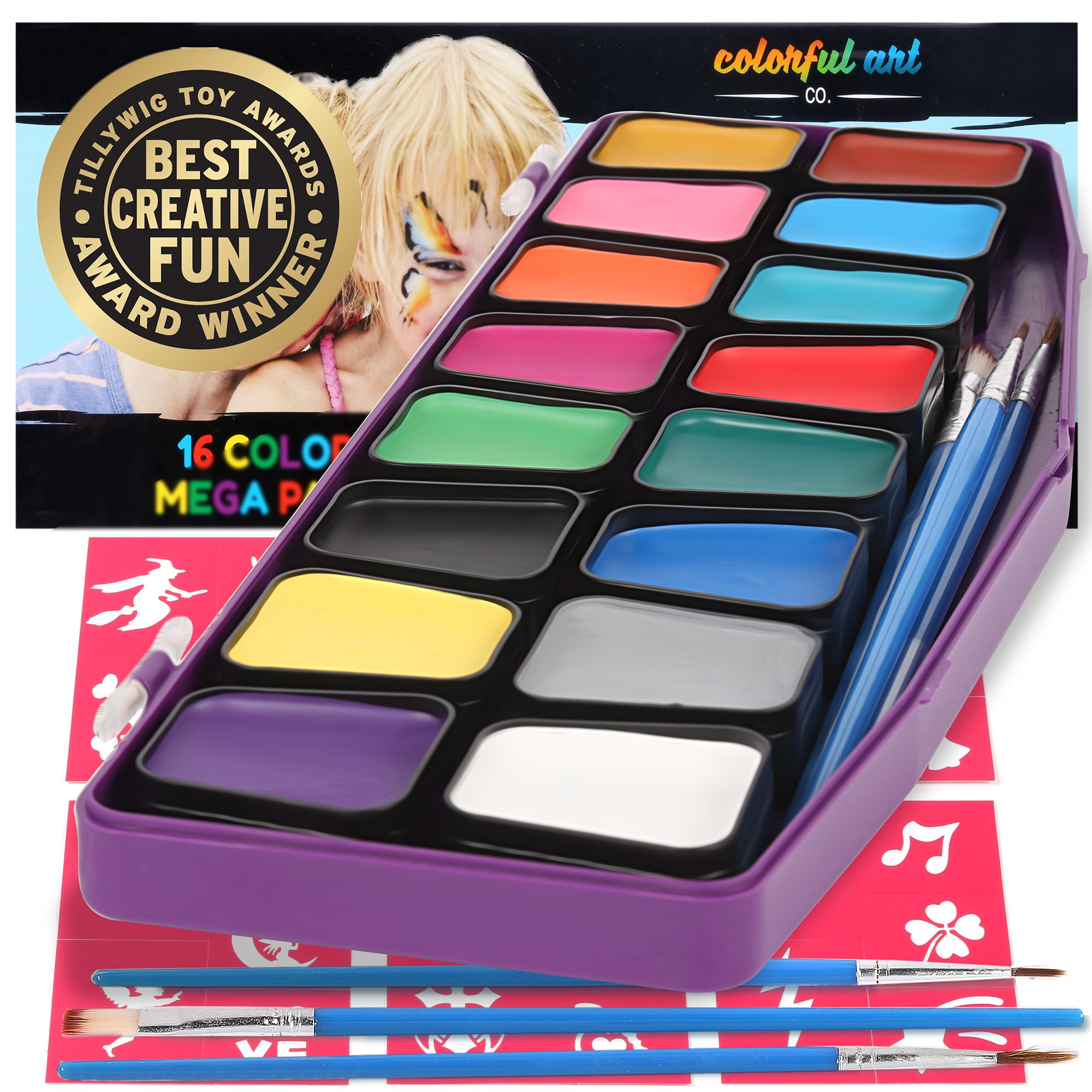 Award Winning Face Paint Kit For Kids | Professional MEGA16 Color Palette Best Face Painting Party Kits and Cosplay Body Paint Set | 30 Stencils | 3 Brushes | Non-Toxic, Hypoallergenic, FDA Compliant by Colorful Art Co.