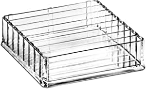 DecorRack Large Acrylic Makeup Organizer Tray Jewelry Box with 7 Dividers, Cosmetic Storage Clear Tray for Beauty Accessories, Shelf Bathroom Case Display