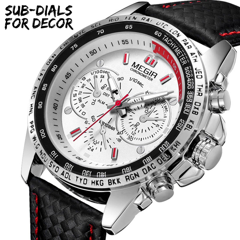 MEGIR Men Work Wrist Watches Analog Quartz Waterproof Sport Casual Fashion Watch with Leather Band by MEGIR