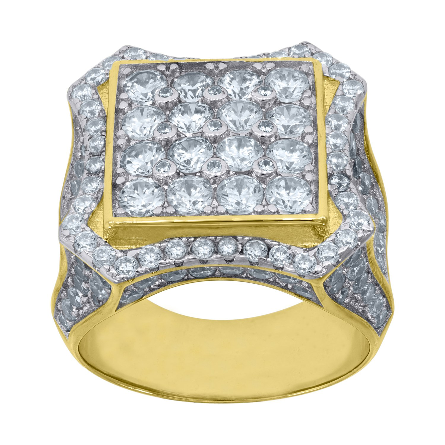 Jewels By Lux Yellow-tone 925 Sterling Silver Mens Round Cubic Zirconia CZ Cluster Band Wedding Ring