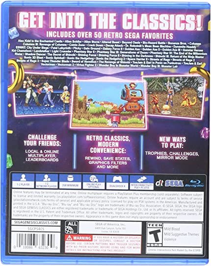 Amazon com: SEGA Genesis Classics - PlayStation 4: Sega of