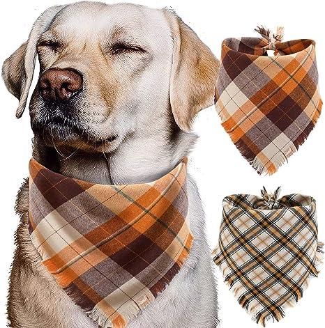 Fall Plaid Autumn leaves reversible over the collar Dog Bandana