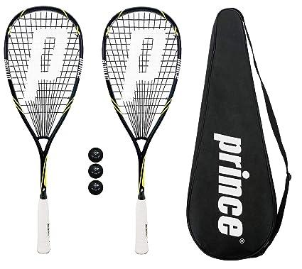 2 x Prince Pro Bestia 750 powerbite Squash raquetas + 3 Pelotas de squash Dunlop Pro