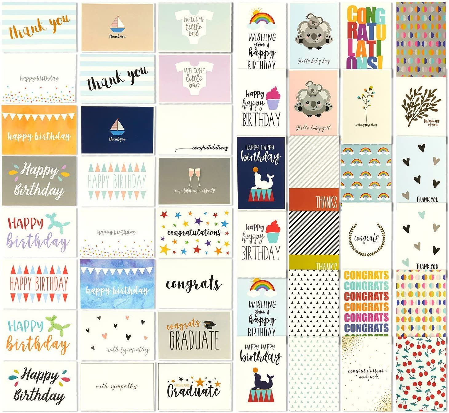 144 Greeting Cards Assortment Bulk Box for All Occasions, Birthday, Graduation, Baby Shower & Thank You, 48 Various Designs with Envelopes, 4 x 6 Inches