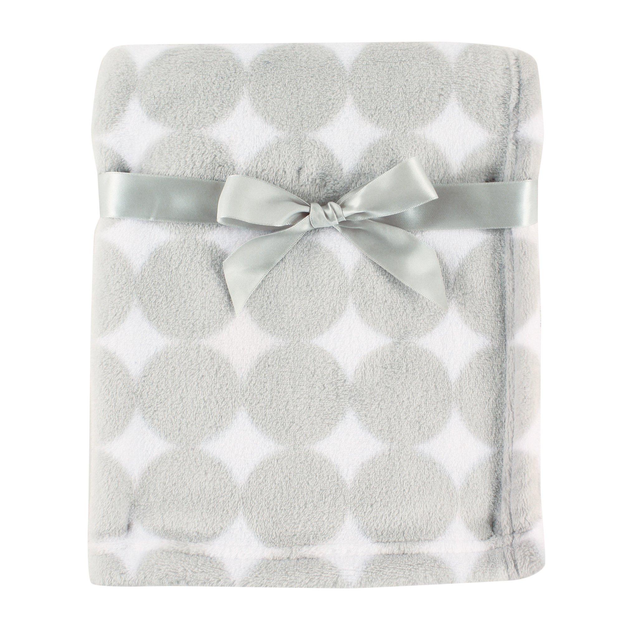 Luvable Friends Print Coral Fleece Blanket, Gray Circles