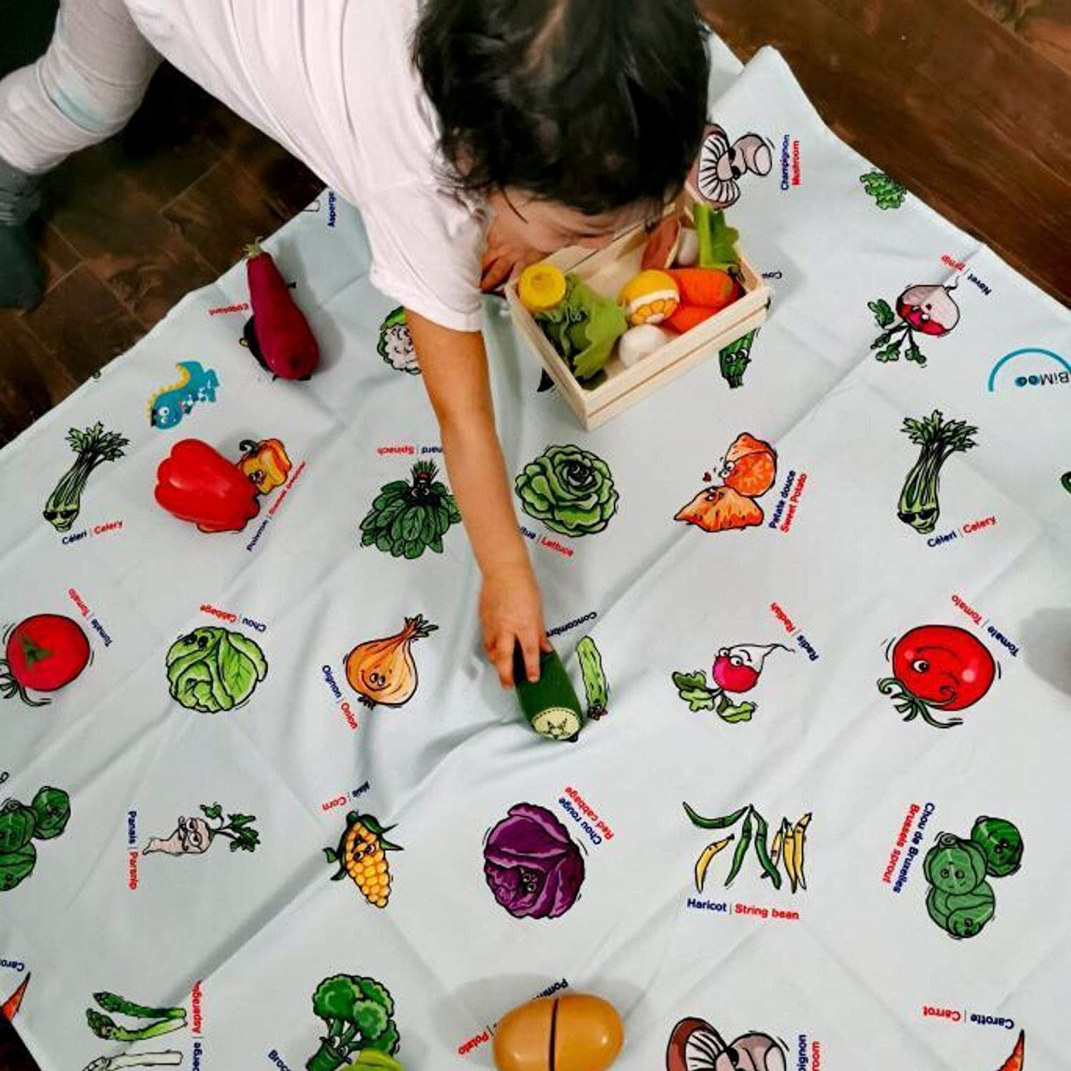 BiMoo VEGETABLES 45x45in Ecological OEKO-TEX Certified Childrens Fun Educative Tablecloth For Kids Learn vegetables in English and French