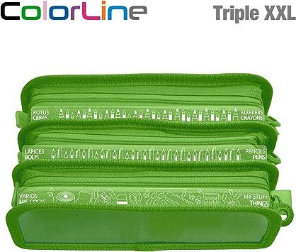 Colorline 58611 - Estuche Portatodo Triple XXL con Fuelle Expandible de Gran Capacidad. Con Indicadores de uso Impresso en cada Apartado. Color Verde Oscuro, Medidas 22 x 8 x 13 cm: Amazon.es: Oficina y papelería