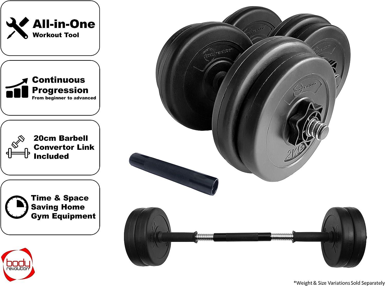 Body Revolution Vinyle Halt/ère /& Halt/ère Ensemble R/églable Gratuit Poids 10kg 15kg 20kg 30kg 40kg 50kg