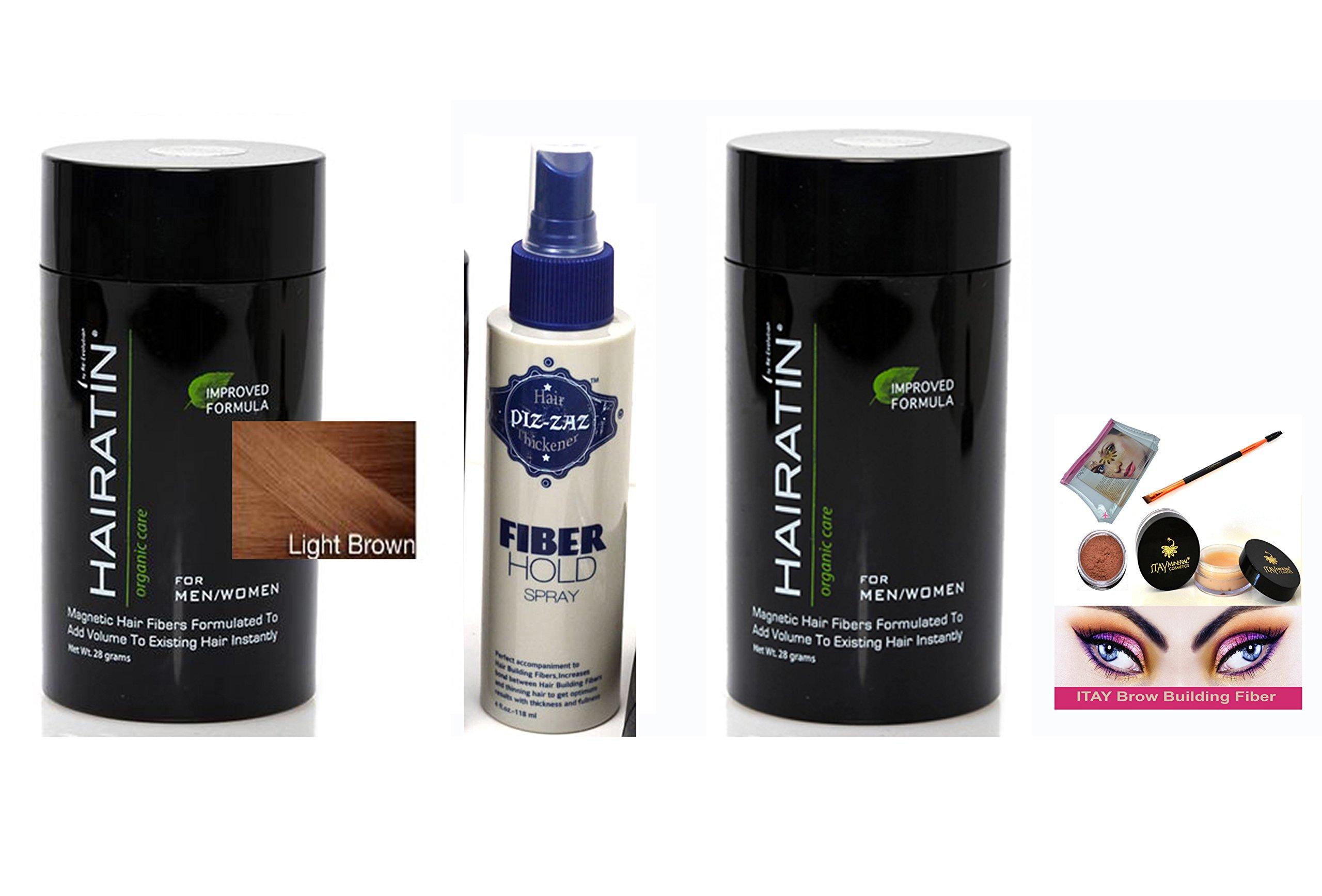 Bundle 4 Items: Hairatin 2x Hair Fibers Light Brown 28 gr +2x Hold Spray Piz-zaz + ITAY Brow Building Fiber kit matching color (light brown )