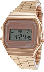 Classic Mens Rose Gold Stainless Steel Digital Display Watch & Swanson Zipper Travel ...