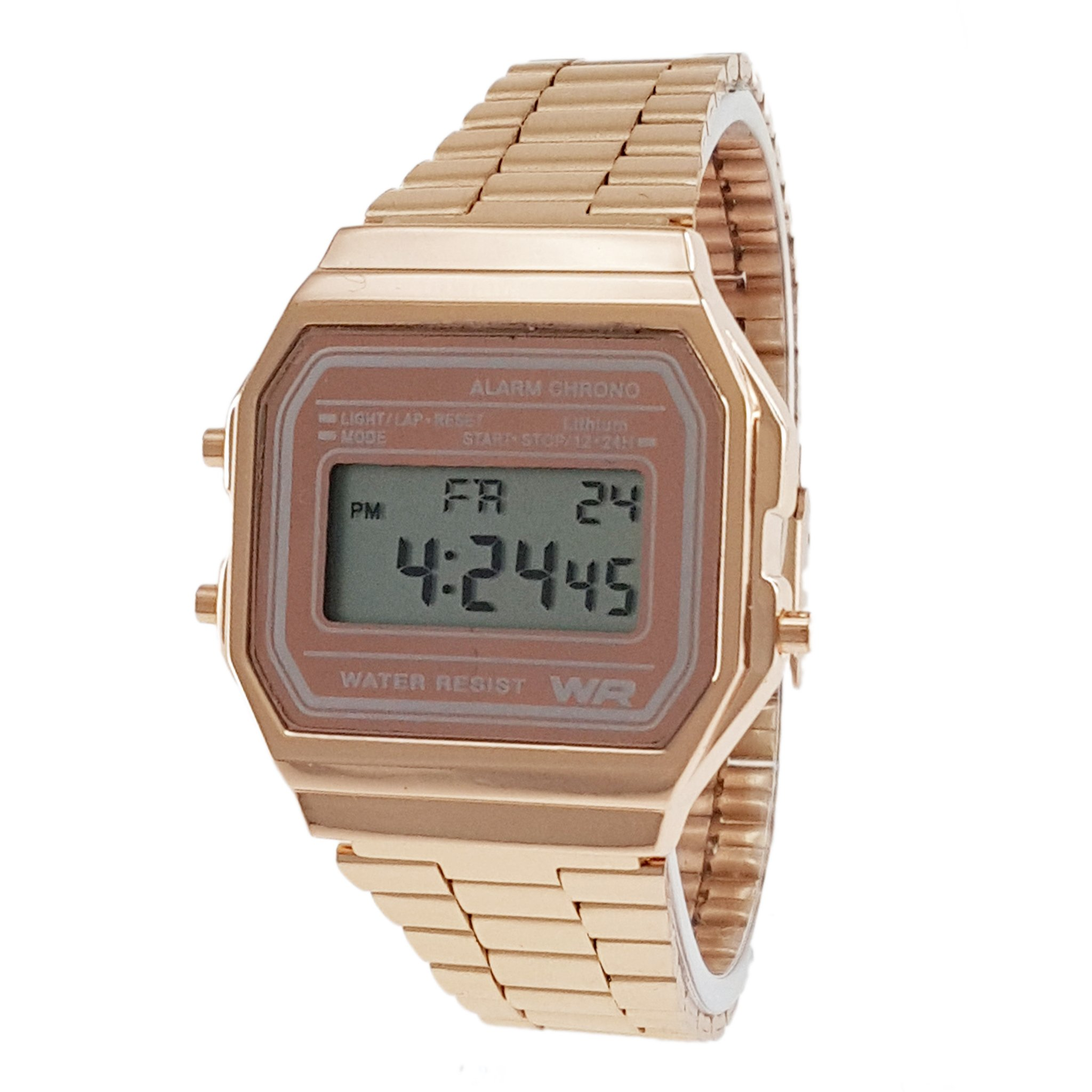 Classic Men's Rose Gold Stainless Steel Digital Display Watch & Swanson Zipper Travel Gym Case