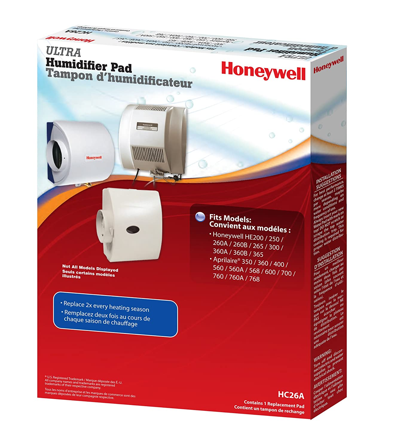 Honeywell He360a1068 U Whole House Powered Humidifier White Central Heating Wiring Diagram Hc26a1016 Replacement Pad