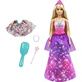 Barbie Dreamtopia 2-in-1 Princess to Mermaid Fashion Transformation Doll (Blonde, 11.5-in) with 3 Looks and Accessories, for