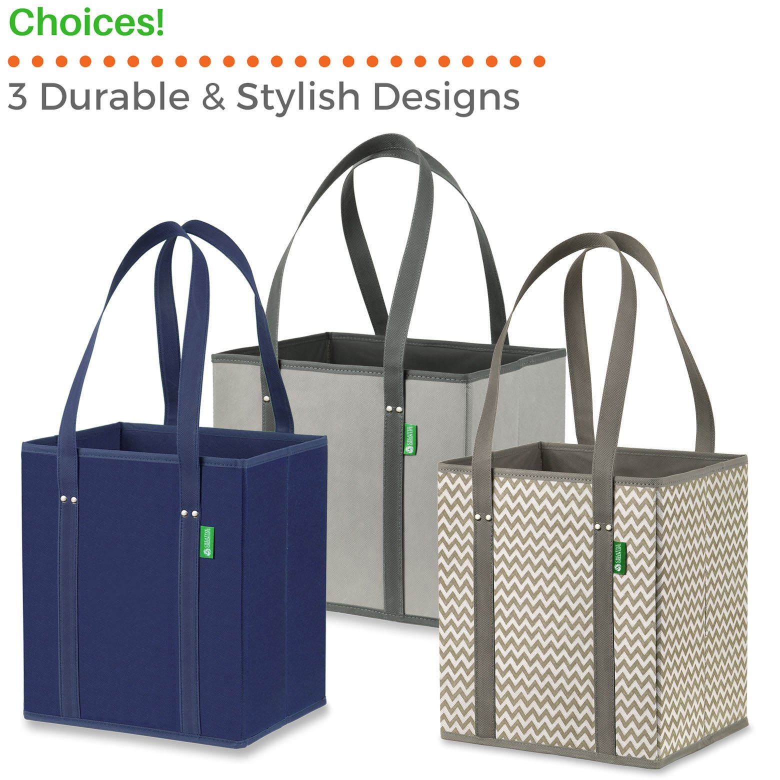 Reusable Grocery Shopping Box Bags (3 Pack - Gray). Large, Premium Quality Heavy Duty Tote Bag Set with Extra Long Handles & Reinforced Bottom. Foldable, Collapsible, Durable & Eco Friendly by Creative Green Life (Image #7)