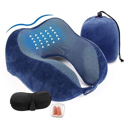 Aidodo Almohada de Viaje Espuma de Memoria Almohada de Cojín Terapéutica del Cuello Soporte en Forma U con Dormir Gafas y Tapones para los oídos para ...