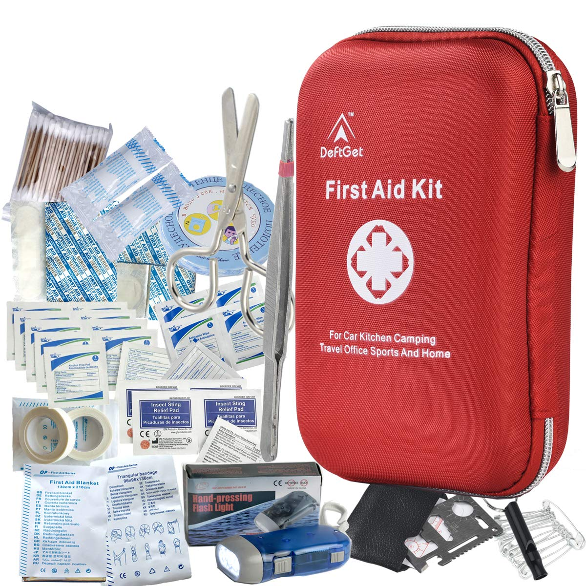 DeftGet First Aid Kit - 163 Piece Waterproof Portable Essential Injuries & Red Cross Medical Emergency Equipment Kits : for Car Kitchen Camping Travel Office Sports and Home by DeftGet