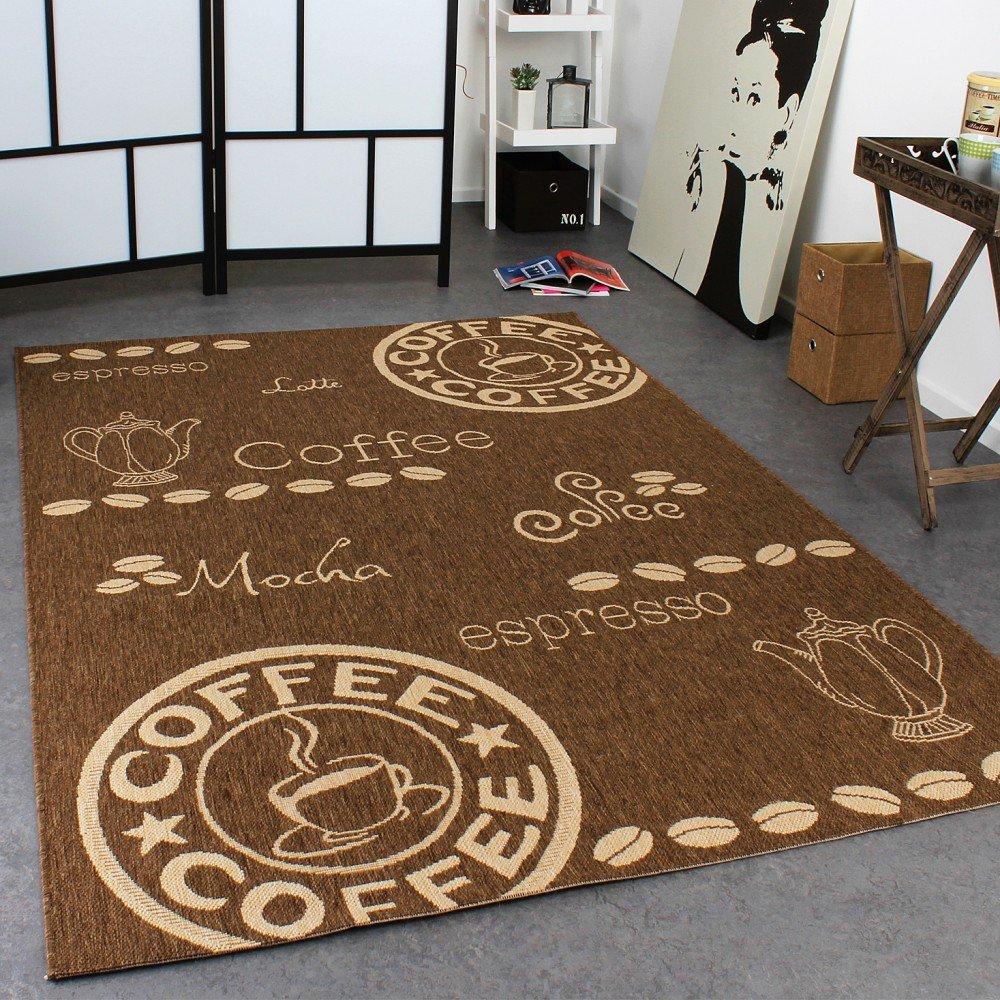 PHC Teppich Modern Flachgewebe Sisal Optik Küchenteppich Coffee ...