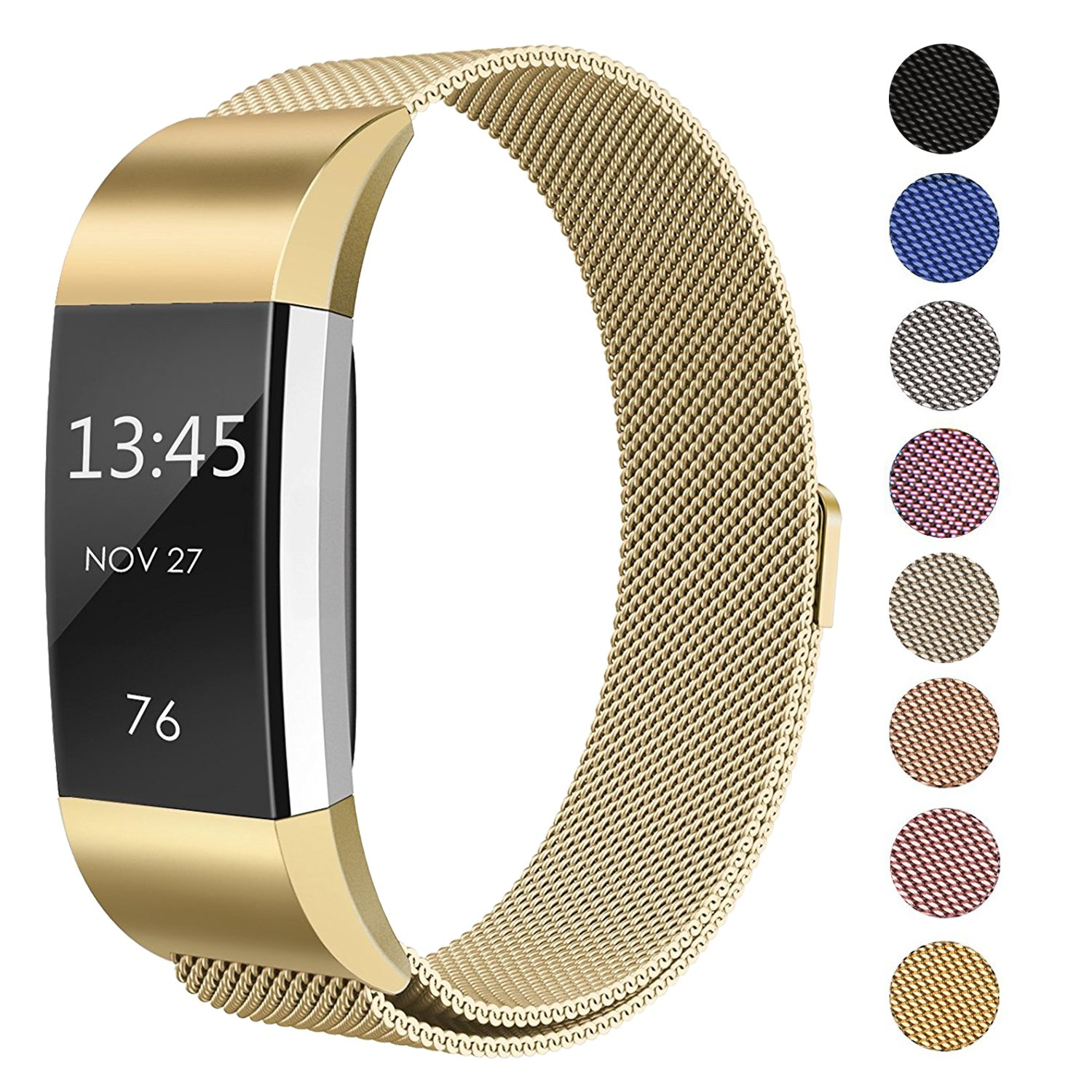 SWEES Metal Bands Compatible Fitbit Charge 2, Milanese Stainless Steel Metal Magnetic Replacement Wristband Small & Large (5.5'' - 9.9'') Women Men, Silver, Champagne, Rose Gold, Black, Colorful