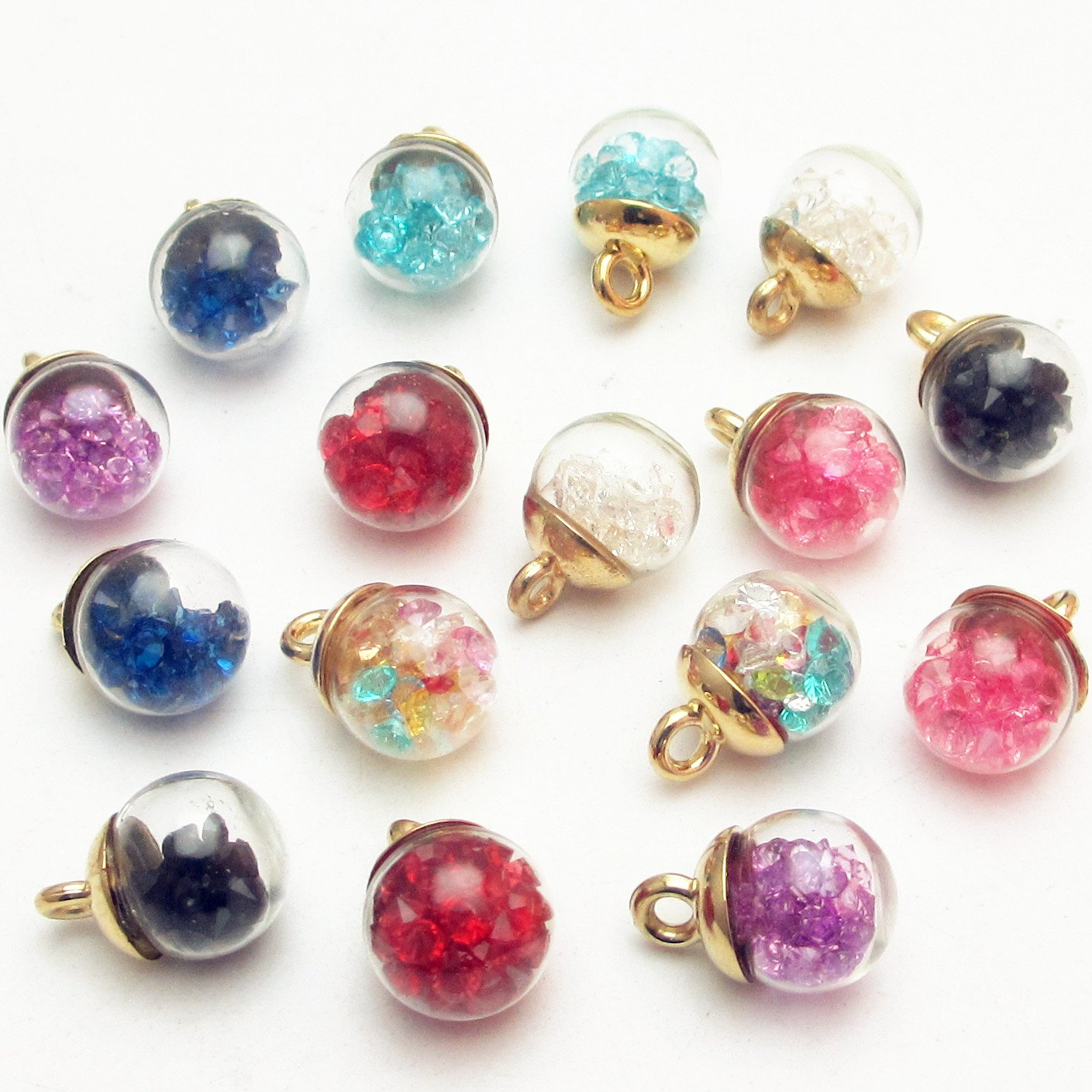 Colorful Mix Lots Assorted-Colors Antique Charms Glass Ball with Tiny Shiny Rhinestone Beads Pendant Craft Accessory Diy Necklace Bracelet Craft Jewelry Making Supply 0.48 Dandan DIY 16pcs 12mm