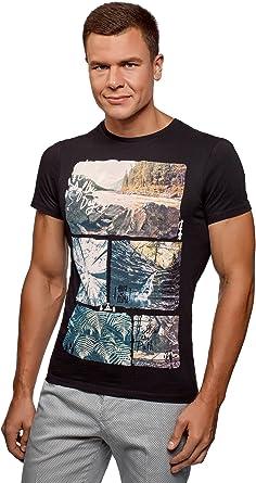 oodji Ultra Hombre Camiseta de Algodón con Estampado, Negro, ES 46-48 / S: Amazon.es: Ropa y accesorios
