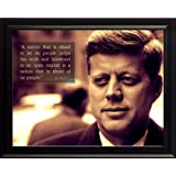 """John F Kennedy JFK Photo Picture Poster Framed Quote """"A nation that is afraid to let it's people judge the truth"""" US President Portrait Famous Inspirational Motivational Quotes (8x10 Framed)"""