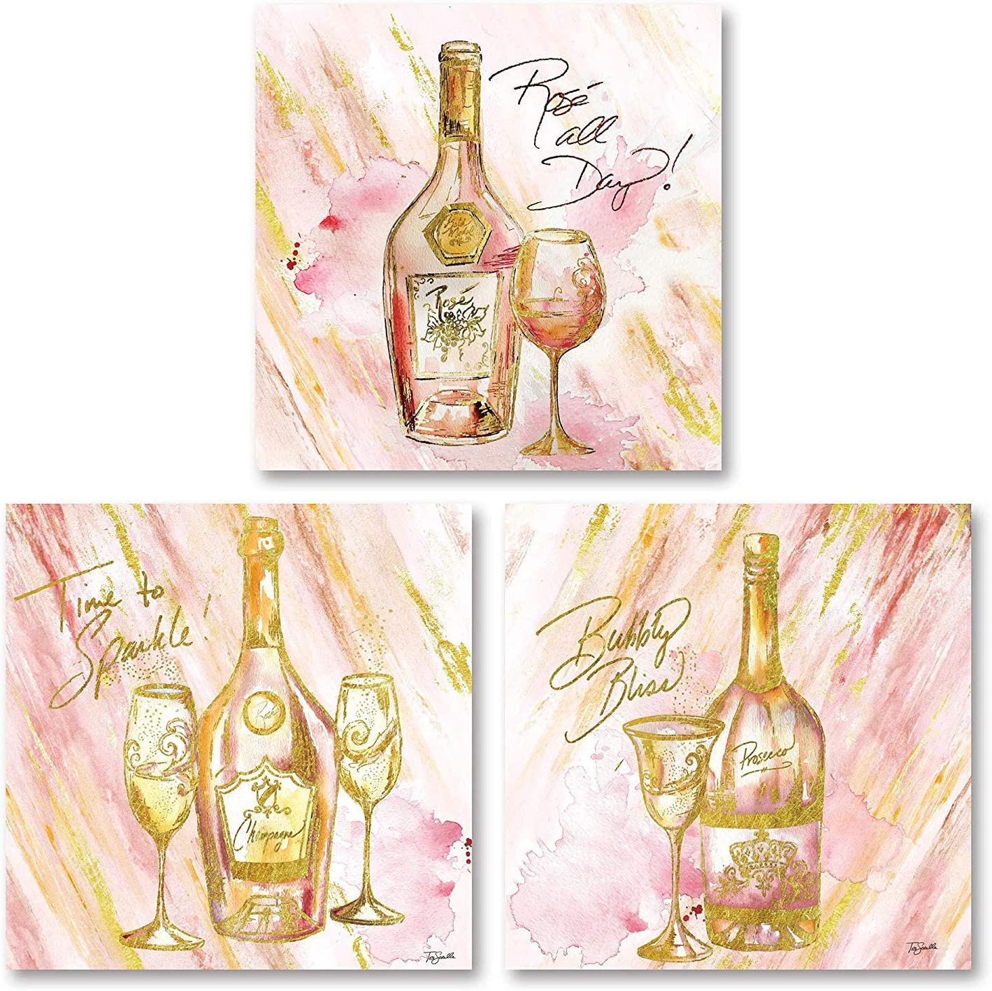 The Studio Resource, Inc. Pink Gold Rose All Day' 'Time to Sparkle' Bubbly Bliss Wine Alcohol Set; Perfect Bar Kitchen Decor; 3-12x12 Paper Poster Prints
