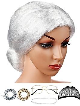Hestya 6 Piezas de Accesorios de Peluca de Abuelita Disfraz de Señora Vieja para Disfraz(