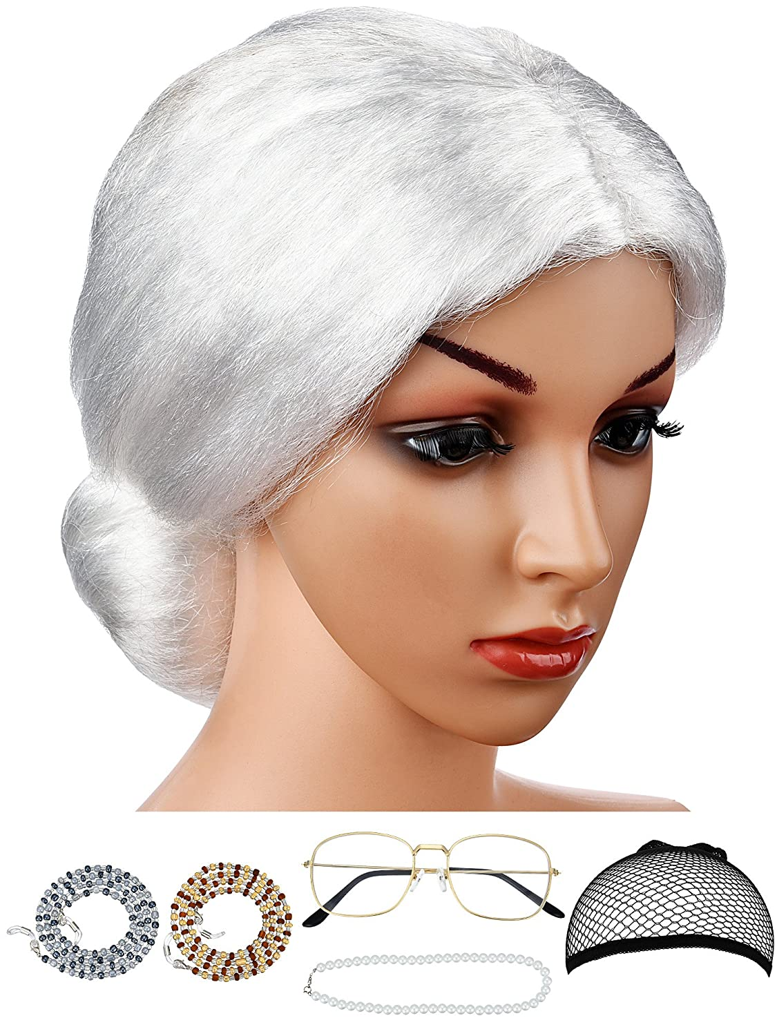 Hestya 6 Pieces Old Lady Costume Granny Wig Accessories for Dress up