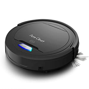 PURE CLEAN PUCRC26B.5 Automatic Robot Auto Vacuum - Home Cleaning - Cleaner Bot Self Detects Stairs - HEPA Filter Pet Hair Allergies Friendly, Black