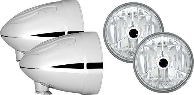 Adjure HB41020-4 4-1//2 Smooth Chrome Ventura Highway French Style Motorcycle Spotlight Bucket with Wave Cut Black Dot Spotlight Pair Part No: T40400