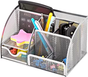 HGmart Mesh Desk Organizer 6 Compartments 1 Mini Drawer Metal Desktop Supplies Organization Stationery Storage for Office or Home, Silver
