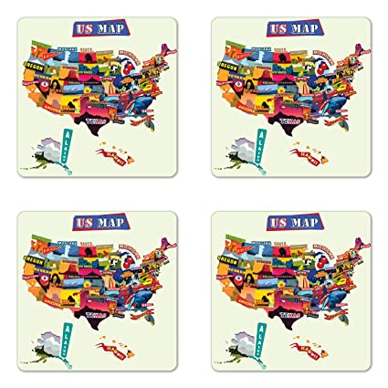 Amazoncom Ambesonne Wanderlust Coaster Set Of Four Us Map - Us-map-with-tourist-attractions
