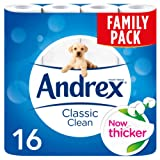 Andrex Classic Clean Toilet Roll Tissue Paper - 16 Rolls