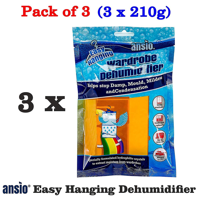 ANSIO Interior Hanging Wardrobe Dehumidifier, 210 g, Pack of 3