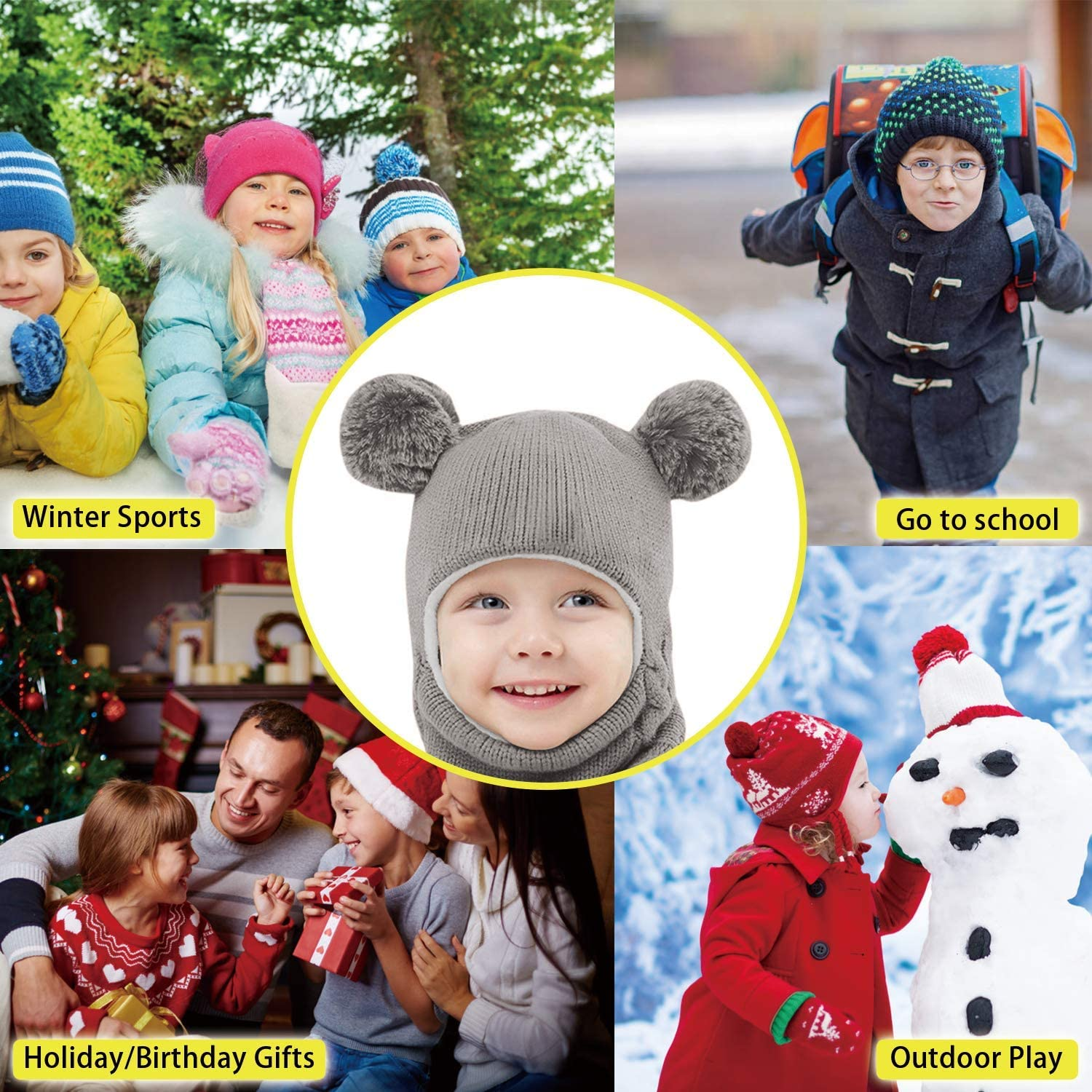 Toddler Winter Hat Fleece Kids Winter Hat Kids Balaclava Face Mask Baby Windproof Warm and Knit Scarf Beanie Hat with Ski Riding Face Cover for Boys Girls Neck Warmer Nose Warmer Red