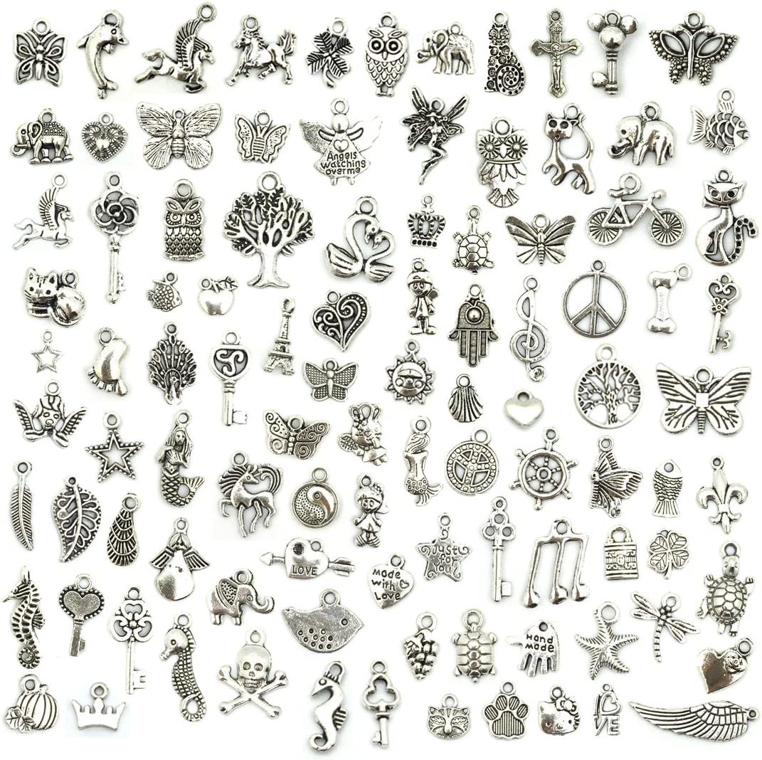 Bulk mixed silver pewter jewelry making charms – 100 pcs