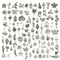 JIALEEY Wholesale Bulk Lots Jewelry Making Silver Charms Mixed Smooth Tibetan Silver...