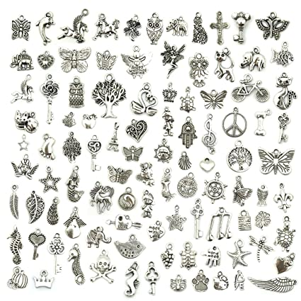 ae5b43360 Wholesale Bulk Lots Jewelry Making Silver Charms Mixed Smooth Tibetan Silver  Metal Charms Pendants DIY for