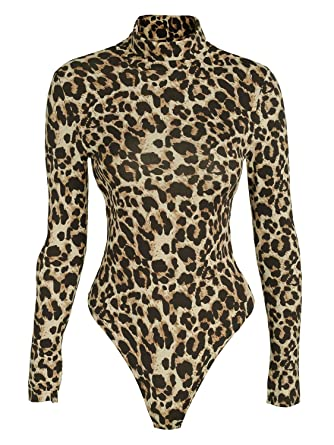 bdc4eaf4fc Glamaker Women's Sexy Leopard Print High Neck Bodycon Bodysuit Long Sleeve  One Piece Leotard