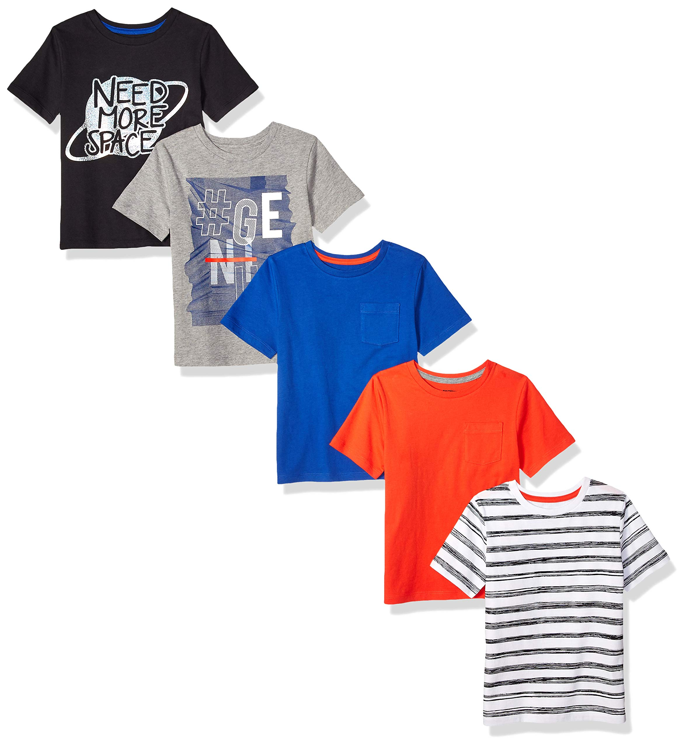 Amazon Brand - Spotted Zebra Boys' Big Kid 5-Pack Short-Sleeve T-Shirts, Need Space, Large (10)
