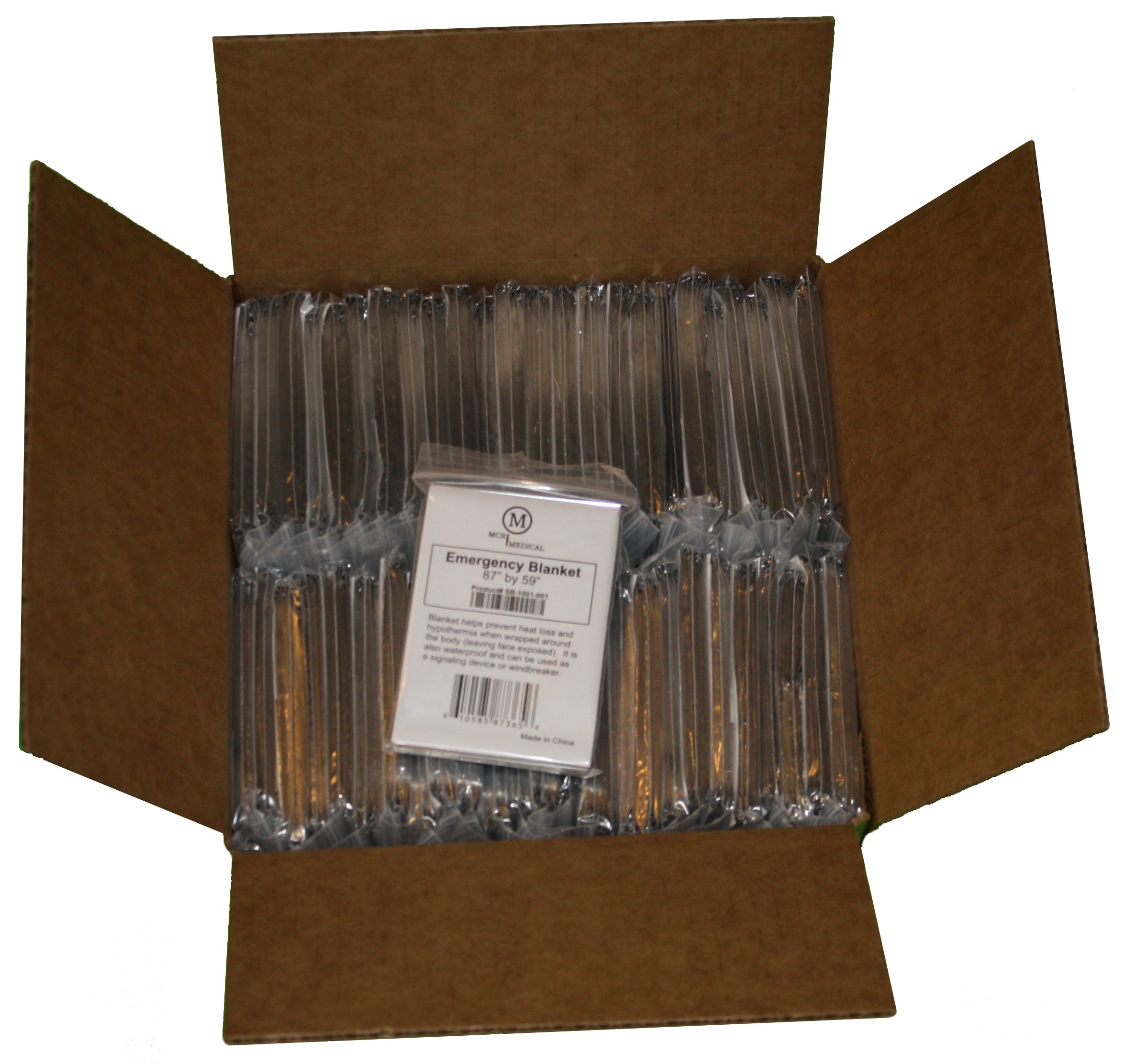 "Box of 100 Silver Emergency Blankets, 87"" by 59"", MCR Medical Supply"