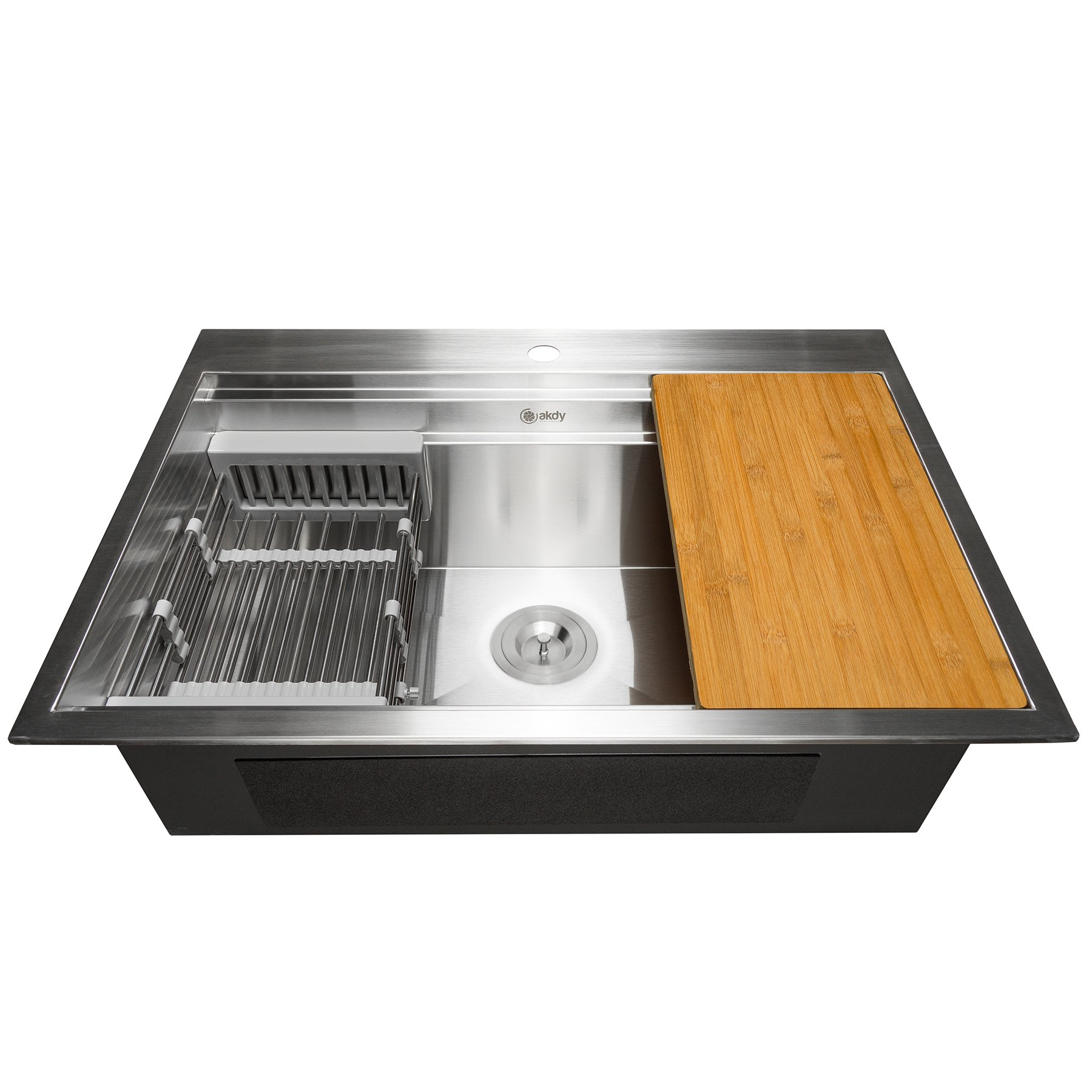 AKDY 30-Inch (30''x22''x9'') Drop-In Top Mount Kitchen Sink- Deluxe Single Bowl Handmade Kitchen Sink with Built-In Adjustable Drain Strainer and Cutting Board - Stainless Steel Construction