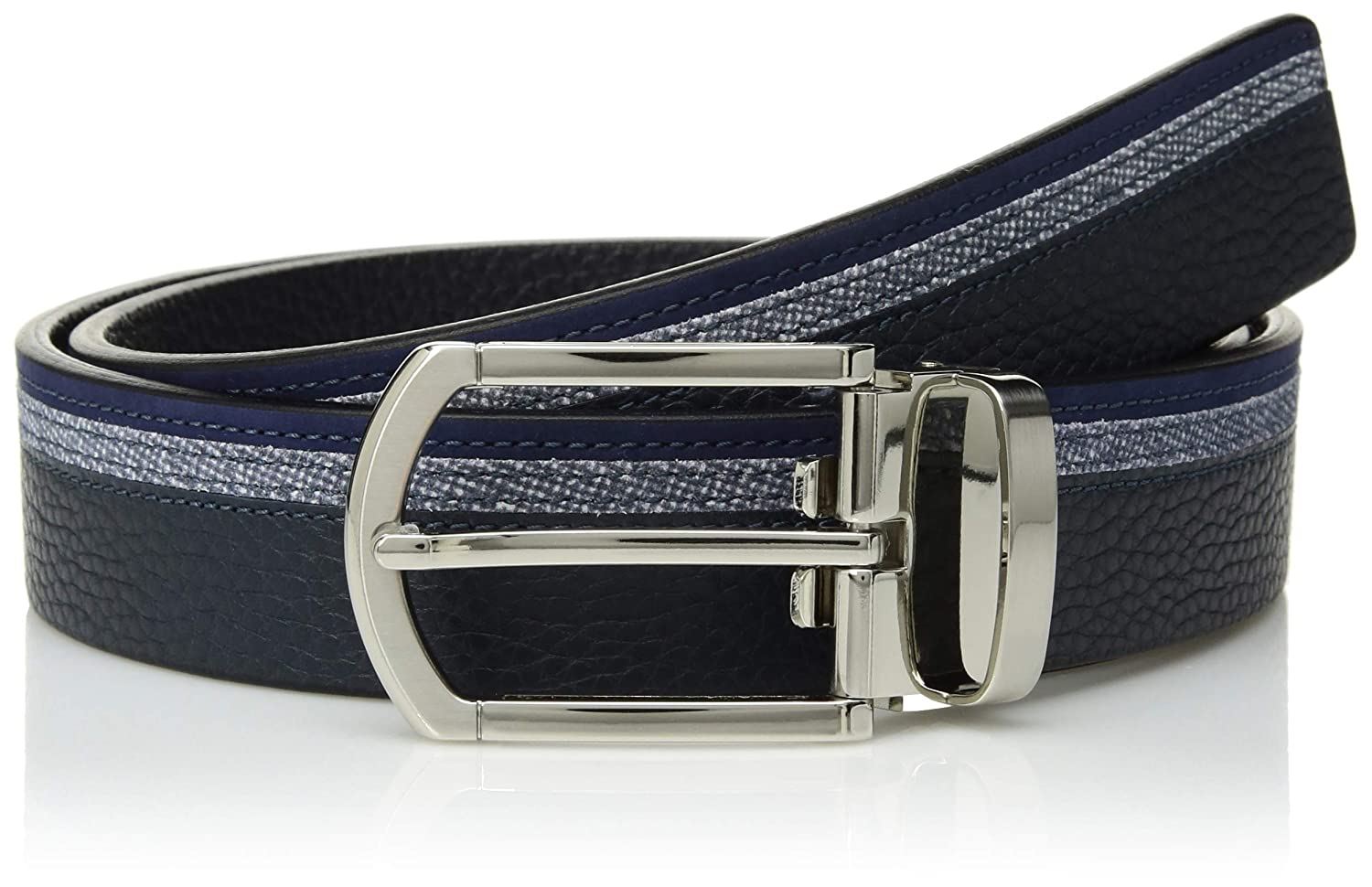 Bugatchi Mens Three Tone Full Grain Leather with Printed Suede Belt