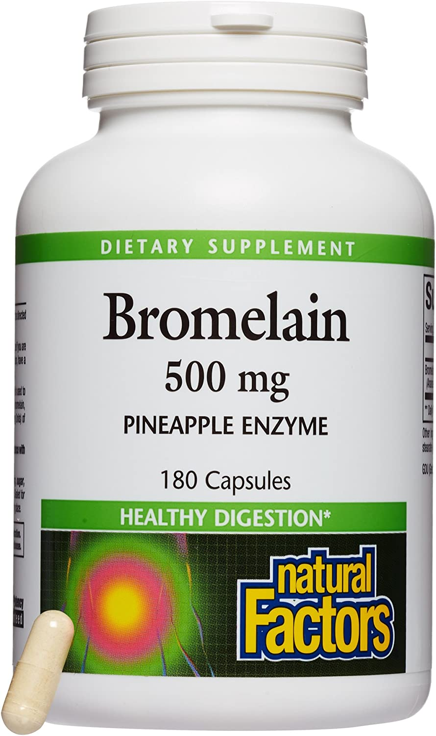 Natural Factors, Bromelain 500 mg, Enzyme Support for a Healthy Digestive System, 180 capsules (180 servings): Health & Personal Care
