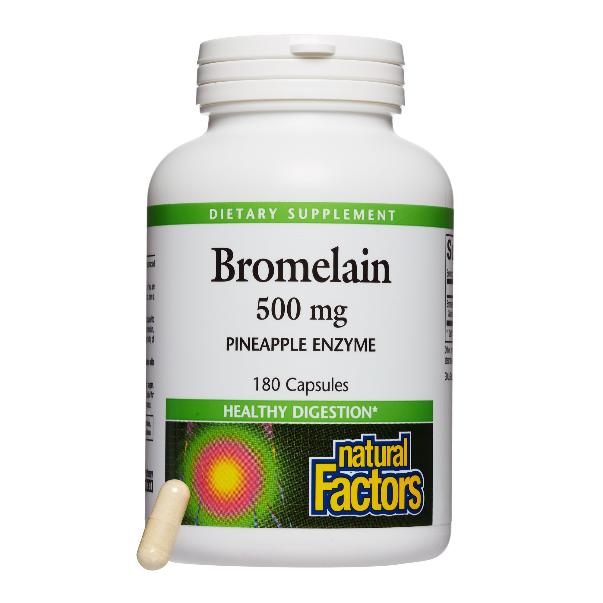 Natural Factors - Bromelain 500mg, Natural Support for Healthy Digestion, Proteolytic Enzymes from Pineapple, Non-GMO, 180 Capsules