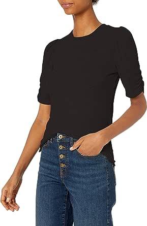 Amazon Brand - Daily Ritual Women's Rayon Spandex Fine Rib Gathered-Sleeve Mock Neck Top
