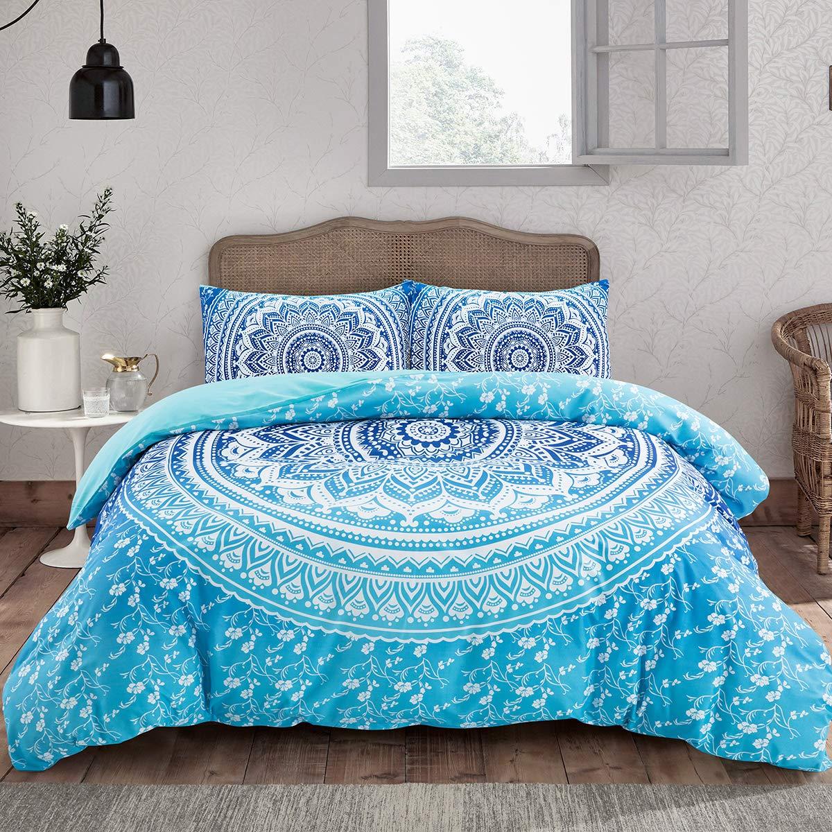 "ARTALL 3 Pcs Soft Microfiber Bohemian Bedding Set Boho Bedding Blue Mandala Hippie Duvet Cover Set Full/Queen Size(90""x90"")"