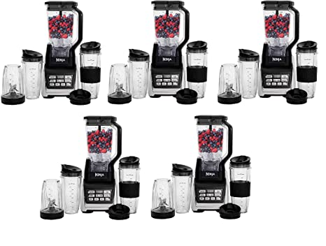 Nutri Ninja Personal and Countertop Blender with 1200-Watt Auto-iQ Base, 72-Ounce Pitcher, and 18, 24, and 32-Ounce Cups with Spout Lids (BL642) (Fivе ...