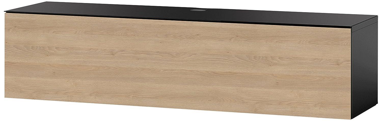 Sonorous STA 160F-BLK-OAK-WL hängende TV-Lowboard mit schwarzer Korpus, obere Fläche, gehärtetem Schwarzglas und Klapptür in Holzdekor Eiche, ohne Sockel