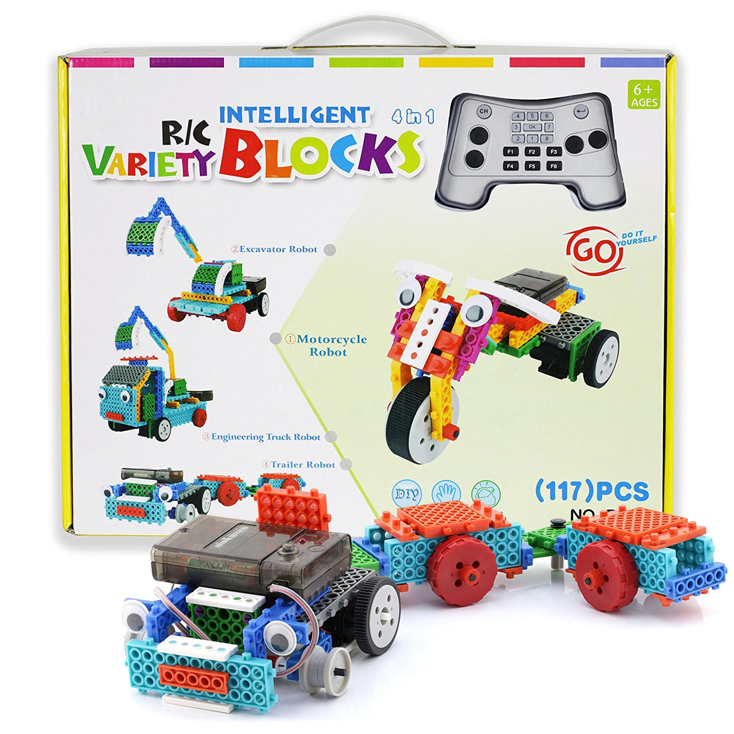 Building Kits for Kids, PACKGOUT Remote Control RC Construction Toys Gifts for Boys Girls Kids, Building Blocks Build Robot Kit for Kids Your Own Remote Control Car (127PCS)